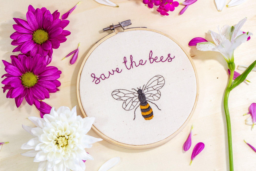 Save the Bees Embroidery Hoop | The Femme Bohemian