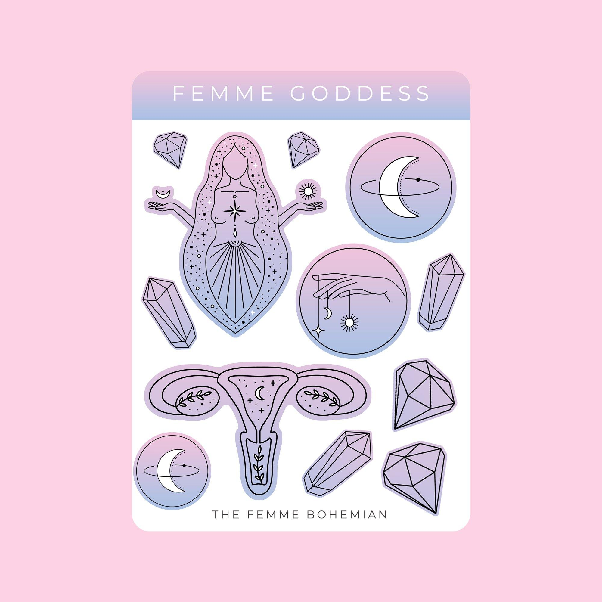 Femme Goddess Stickers, Planner Stickers | The Femme Bohemian