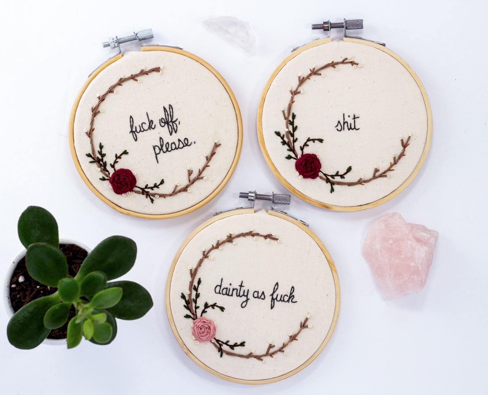 Swear Word, Mini Embroidery Hoop - The Femme Bohemian - The Femme Bohemian
