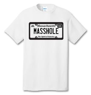 MASSHOLE Massachusetts License Plate 100% Cotton Tee Shirt #U001