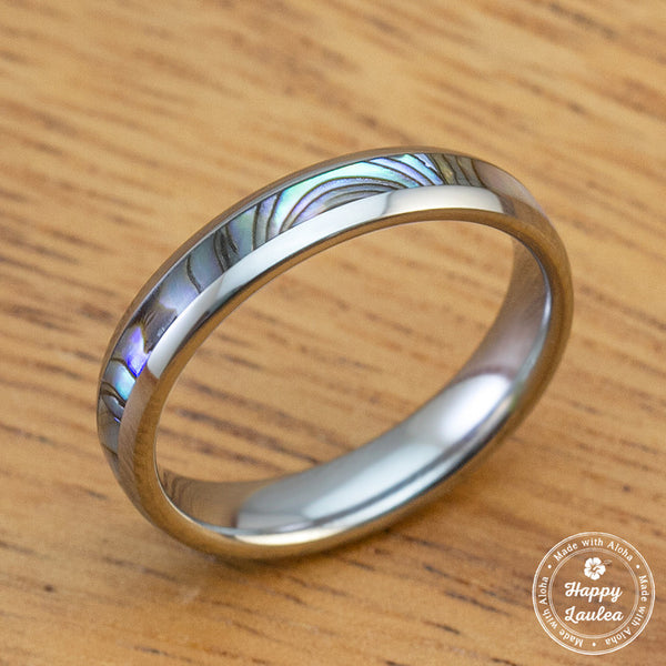 Thin Tungsten Carbide Ring with Abalone Shell Inlay - 4mm, Dome Shape, Comfort Fitment