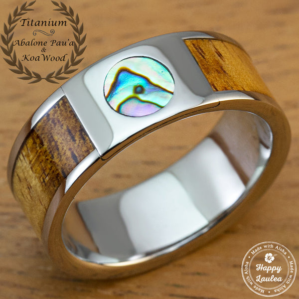 Titanium 8mm Ring with Abalone Pau'a Shell and Hawaiian Koa Wood Inlay