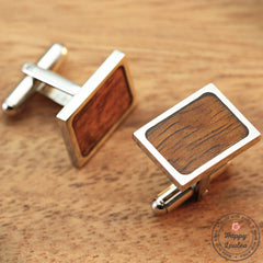 Titanium Cufflinks with Koa Wood Inlay - 13mm x 19mm