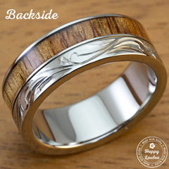 Titanium Flush Diamond Setting 8mm Width Ring Hand Engraved Floral Design with Hawaiian Koa Wood Inlay