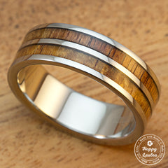 Titanium Ring with Hawaiian Koa Wood Duo Inlay - 8mm, Flat Shape, Standard Fitment