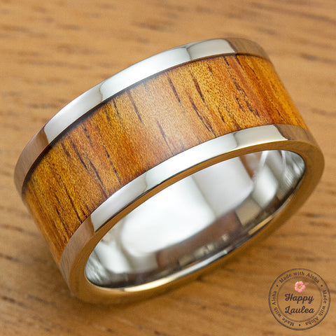 Titanium Ring with Hawaiian Koa Wood Inlay - 10mm, Flat Shape, Standard Fitment
