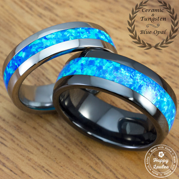 Black Ceramic and Tungsten Carbide Wedding Band Set with Blue Opal Inlay - 6&8mm, Dome Shape, Comfort Fitment