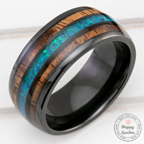 Black Zirconium 10mm Ring with Azure Blue Opal & Hawaiian Koa Wood Tri-Inlay - Dome Shape, Comfort Fitment
