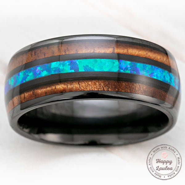 Black Ceramic 10mm Ring with Blue Opal & Hawaiian Koa Wood Tri Inlay - Dome Shape, Comfort Fitment
