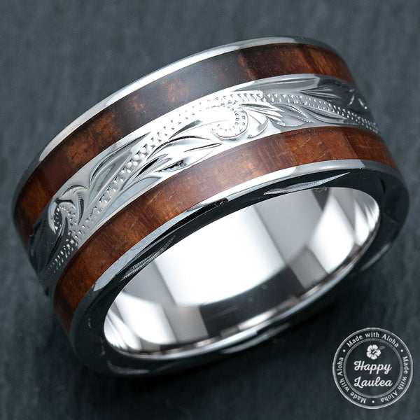Sterling Silver 10mm Wide Width Hawaiian Jewelry Ring with Hawaii Koa Wood Duo Inlay - Flat Shape, Standard Fitment