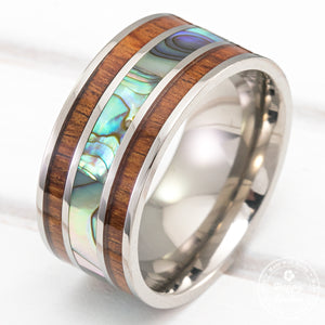 Titanium Ring with Abalone Shell and Hawaiian Koa Wood Tri Inlay - 10mm, Flat Shape, Comfort Fitment