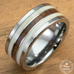Genuine Antler & Hawaiian Koa Wood Tungsten Carbide Ring