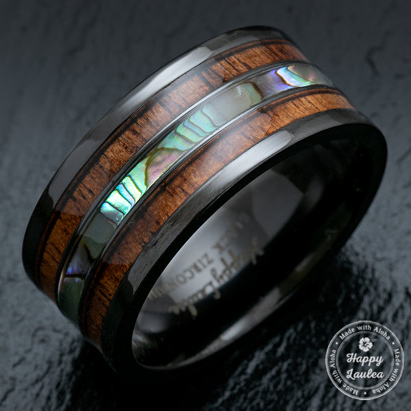 Black Zirconium Wide Width 10mm Ring with Abalone Shell & Koa Wood Tri-Inlay - Flat Shape, Comfort Fitment