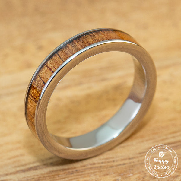Titanium Ring with Hawaiian Koa Wood Inlay - 3mm, Flat Shape, Standard Fitment