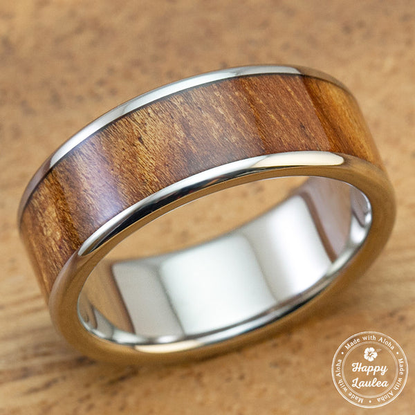 Titanium Ring with Hawaiian Koa Wood Inlay - 8mm, Flat Shape, Standard Fitment