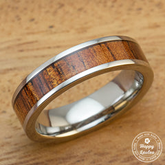 Titanium Ring with Hawaiian Koa Wood Inlay-6mm, Flat Shape, Standard Fitment
