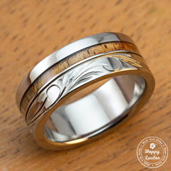 Titanium Ring with Hawaiian Koa Wood Inlay Hand Engraved with Hawaiian Heritage Design - 8mm, Standard Fitment, Flat Shaped
