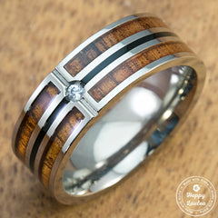 Titanium Ring with Hawaiian Koa Wood Inlay with Cubic Zirconia Setting - 8mm, Flat Shape, Comfort Fitment