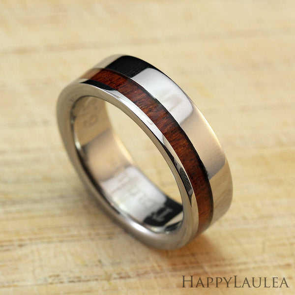 Titanium Ring with Koa Wood Offset Inlay - 6mm, Flat Shape, Standard Fitment