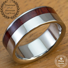 Titanium Ring with Offset Koa Wood Inlay - 8mm, Flat Shape, Standard Fitment