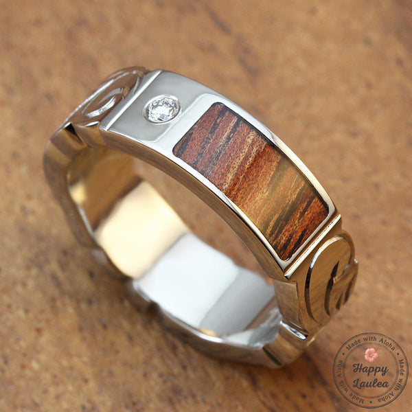 Titanium Ring with Koa Wood Inlay Hand Engraved with Hawaiian Heritage Design - 6mm, Flat Shape, Standard Fitment