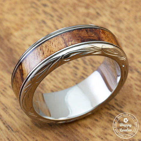 Titanium Ring with Koa Wood Inlay Hand Engraved with Hawaiian Heritage Design - 8mm, Dome Shape, Standard Fitment