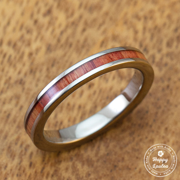 Titanium Ring with Tulip Wood Inlay