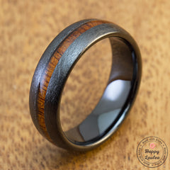 HI-TECH Black Ceramic Brush Finish Ring with Hawaiian Koa Wood Inlay - 7mm, Dome Shape, Comfort Fitment