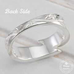 925 Sterling Silver Hand Engraved Maile Leaf Motif Ring
