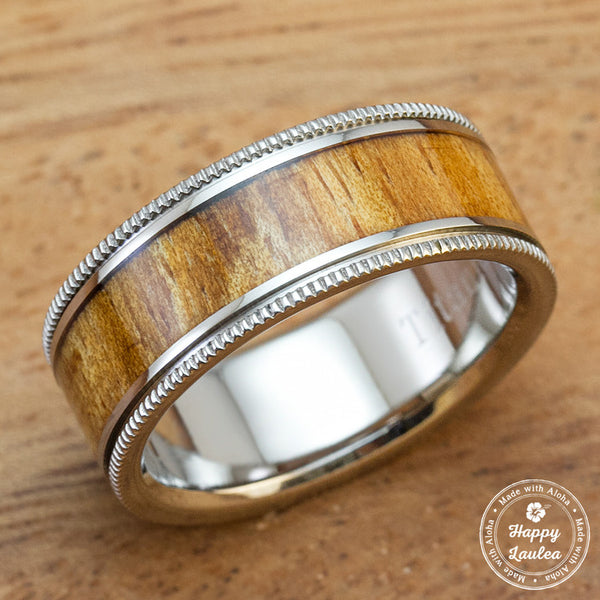Titanium Wedding Band for Mens with Hawaiian Koa Wood Inlay