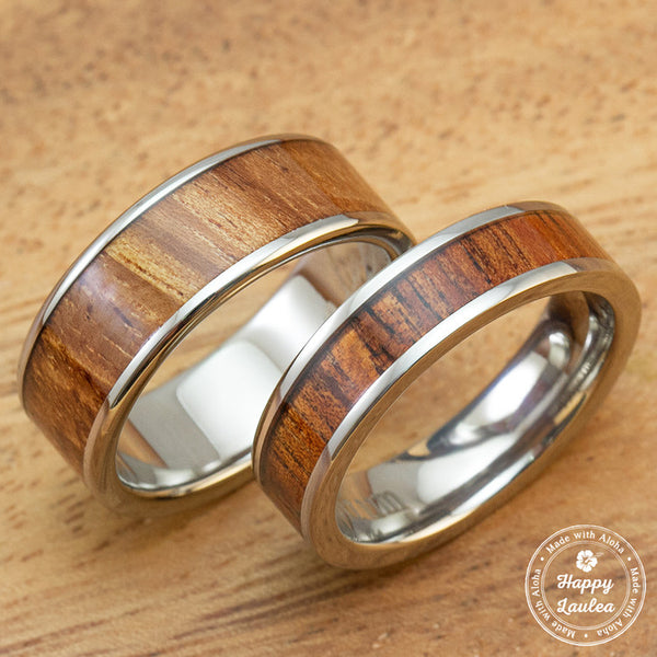 Titanium Wedding Band Set with Hawaiian Koa Wood Inlay