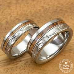 Titanium Wedding Band Set with Hawaiian Koa Wood Inlay Hand Engraved with Hawaiian Heritage Design
