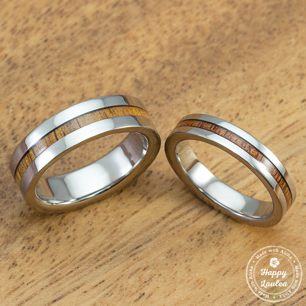 Titanium Wedding Band Set with Thin Strip Hawaiian Koa Wood Inlay