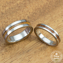 Pair of Titanium Couple/Wedding Band Set with Thin Strip Hawaiian Koa Wood Inlay - 4&6mm, Flat Shape, Standard Fitment