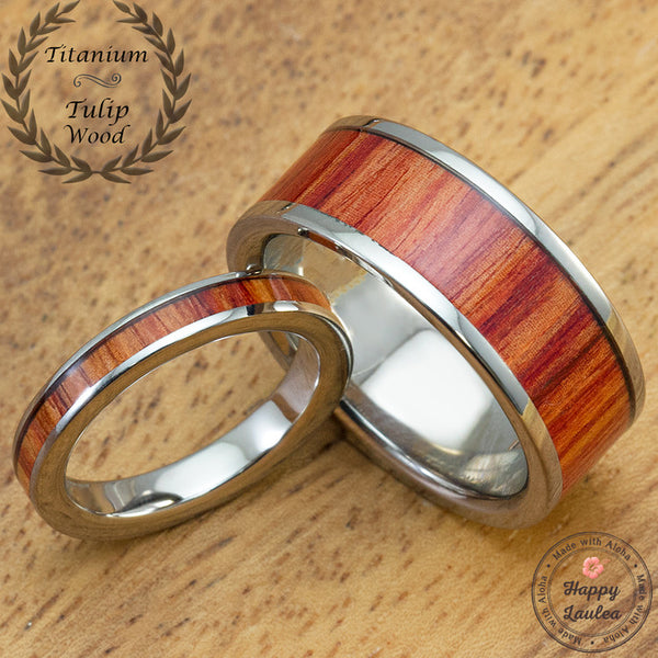 Titanium Wedding Band Set with Tulip Wood Inlay