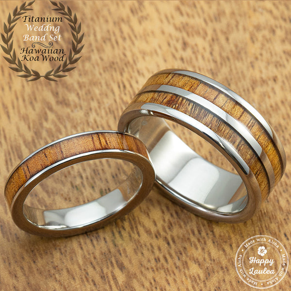 Titanium Wedding Ring Set with Hawaiian Koa Wood Inlay