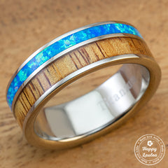 Titanium Wedding Ring with Hawaiian Koa Wood and Opal Offset Inlay