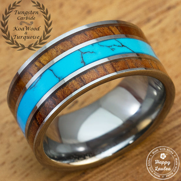 Tungsten Carbide 10mm Ring with Koa Wood and Turquoise Inlay