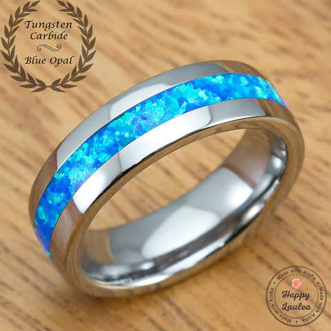 Tungsten Carbide Ring with Blue Opal Inlay - 6mm, Dome Shape, Comfort Fitment