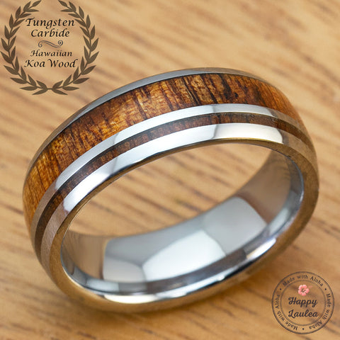 Tungsten Carbide 7mm Ring with Hawaiian Koa Wood Inlay
