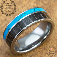 Tungsten Carbide Ring with Ebony Gabon & Aqua Turquoise Inlay - 8mm, Flat Shape, Comfort Fitment (DISCONTINUED)