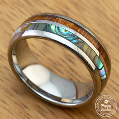 Tungsten Carbide 8mm Width Ring with Hawaiian Koa Wood and Abalone Pau'a Shell Inlay