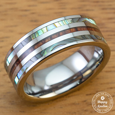 Tungsten Carbide Ring with Hawaiian Koa Wood and Abalone Pau'a Shell Tri Inlay - 8mm, Flat Shape, Comfort Fitment