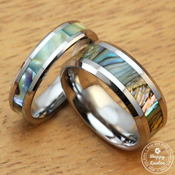 Pair of Tungsten Carbide Beveled Edge Rings with Abalone Shell Inlay - 5&8mm, Flat Shape, Comfort Fitment