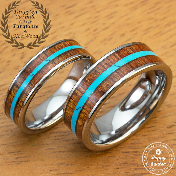 Tungsten Carbide Ring Set with Hawaiian Koa Wood and Thin Mid-Strip Turquoise Inlay
