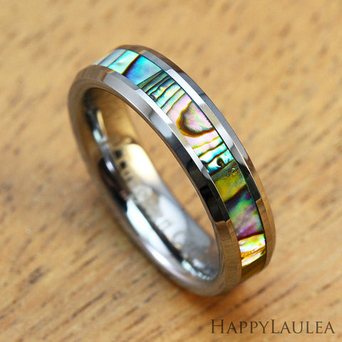 Tungsten Carbide Ring with Abalone Shell Inlay