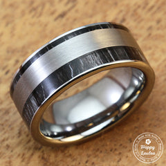 Tungsten Carbide Ring with Ebony Gabon Wood Inlay