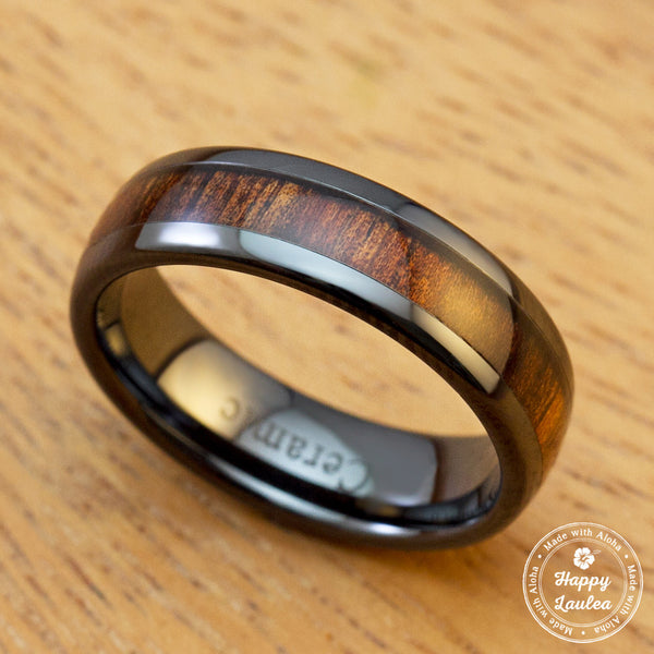 HI-TECH Black Ceramic Ring with Hawaiian Koa Wood Inlay - 6mm, Dome Shape, Comfort Fitment