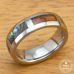 Tungsten Carbide Ring with Hawaiian Koa Wood and Abalone Shell Block Inlay - 6mm, Dome Shape, Comfort Fitment
