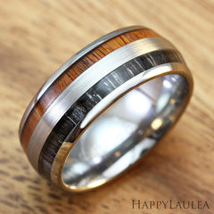 Tungsten Carbide Brush Finish Ring with Koa & Ebony Gabon Wood Double Inlay, 8mm, Dome Shape, Comfort Fitment